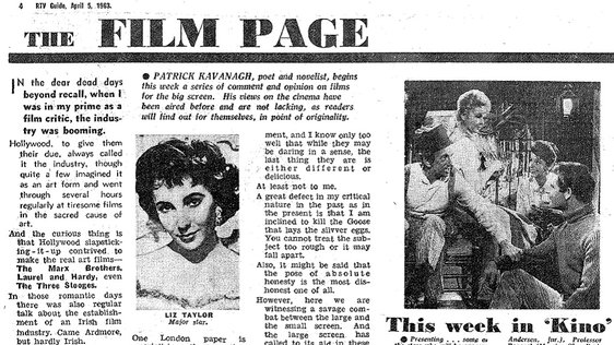 RTV Guide, 5 April, 1963. Page 4. Patrick Kavanagh's First Film Page in RTV Guide.