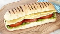 Cheese Tomato and Pesto Panini - You're taste buds won't be able to resist the delicious smell while this panini toasts!