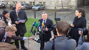 Mr Howlin speaks to the media at Government Buildings this afternoon (Pic: Will Goodbody)