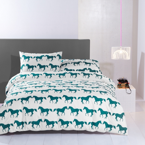 The 'Kissing Animals' collection includes duvet sets and towels that are available in  two colour prints.