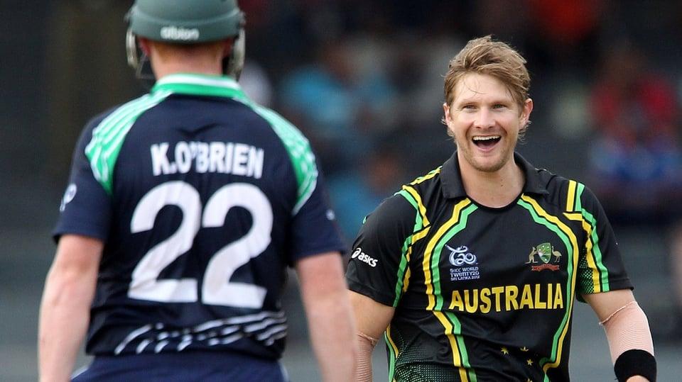 Shane Watson eyeballs Kevin O'Brien after taking the Ireland top scorer's wicket