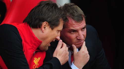 Brendan Rodgers and coach Colin Pascoe clearly have Manchester United in mind