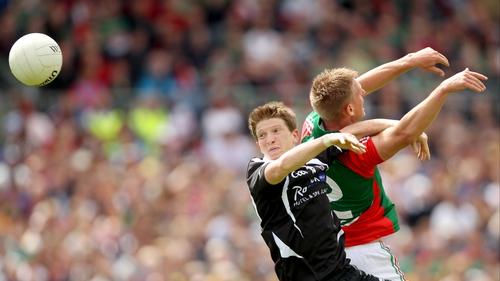 Sligo's David Kelly (l) and Kevin Keane of Mayo contest a high ball