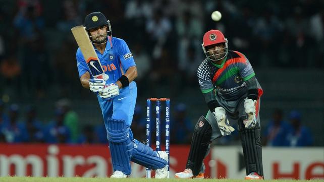 India's Virat Kohli had a lucky break on his way to 50