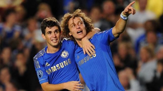 Oscar (L) and David Luiz celebrate Chelsea's opener