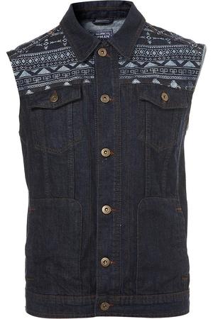 Topman indigo aztec sleeveless jacket €65