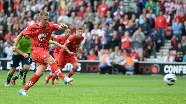 Rickie Lambert of Southampton scores from the penalty spot at St Mary's