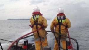 Members of the naval service and the Courtmacsherry RNLI lifeboat tried to extinguish the fire