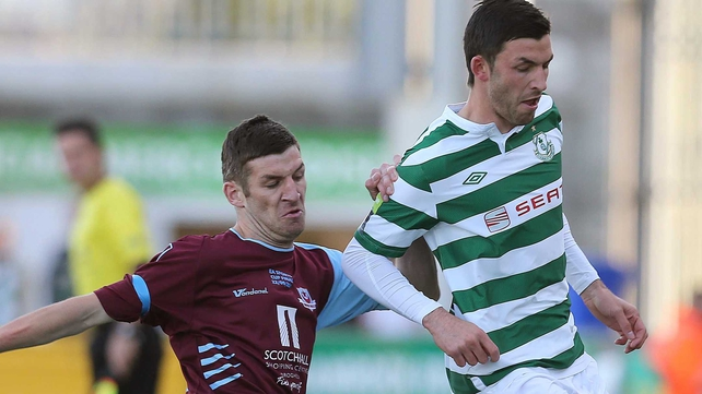 Rovers' Killian Brennan and brother Gavin Brennan of Drogheda United contest the ball