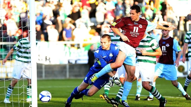 Declan O'Brien put Drogheda United on the way to winning the EA Sports Cup final in Tallaght Stadium