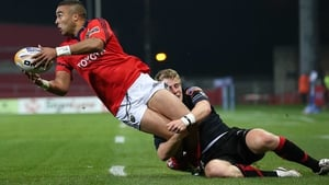 Simon Zebo gets his pass away to set up Niall Ronan's 12th-minute try