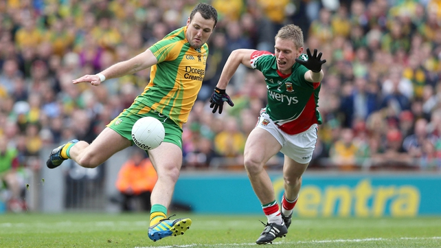 Michael Murphy fires home Donegal's opening goal