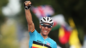 30-year-old Philippe Gilbert left rivals Edvald Boasson Hagen of Norway and Spain's Alejandro Valverde in his wake