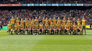 The Donegal team pose for a pre-match photo