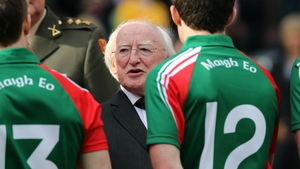 President Michael D Higgins meets the Mayo team
