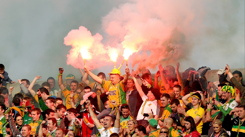 Donegal supporters on Hill 16 celebrate after their 2-11 to 0-13 victory