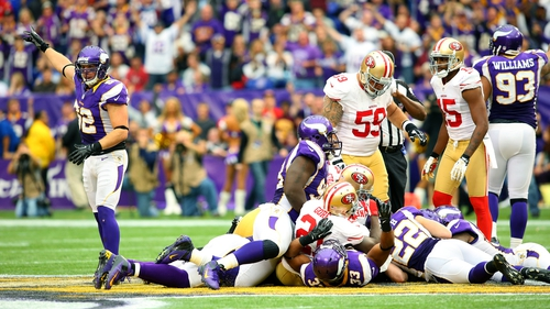 Chad Greenway of the Minnesota Vikings seen during the victory over the San Francisco 49ers