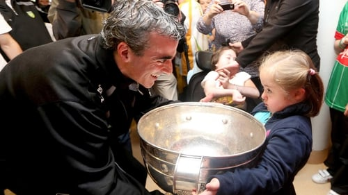 Jim McGuinness and Donegal players shared their success in the National Children's Hospital in Crumlin this morning