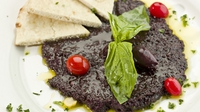Black Olive Tapenade - Black olive tapenade is a typical Provencal appetiser, served on biscuits or crisp warm toast and served with a little aperitif.