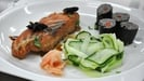 Salmon with Soba Noodle Sushi and Cucumber Salad