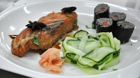 Salmon with Soba Noodle Sushi and Cucumber Salad - A great main from the MasterChef Ireland 2012 kitchen