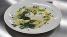 Oil Poached Turbot with Caramelised Fennel and Asparagus Coins - Served with a Nettle Emulsion and black lime butter Sauce