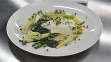 Oil Poached Turbot with Caramelised Fennel and Asparagus Coins