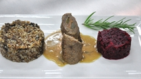 Beef rollers - Served with wild mushrooms, buckwheat and horseradish beetroot