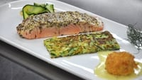 Salmon with a mustard crust, courgette rosti and smoked salmon rissole - A lovely dish from MasterChef Ireland 2012