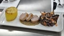 Maple-glazed pork fillet with chestnut sauce, red cabbage and apple coleslaw and fondant potato