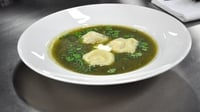 Courgette Soup - Served with sun-dried tomato and ricotta ravioli