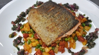 Pan-fried sea trout, peas and chorizo fricassee - A lovely fish dish from MasterChef Ireland