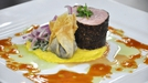 Coffee-Rubbed Fillet of Pork  - Served with Black Pudding Wonton, Coriander Rice, Sweetcorn Puree and Maple Whiskey Sauce