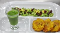 Green ceviche and cucumber gazpacho  - Served with plaintains and pomegranate and avocado garnish