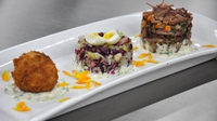 Corned Beef Hash  - Served with a Medley of Cabbage, Potato Croquette, Quails egg and Horseradish and Parsley cream sauce