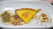 Seasonal lemon and elderflower tart