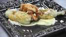 Seafood Stuffed Courgette Flowers on a Cauliflower puree