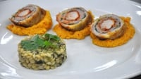 Roulade of Rabbit with barley risotto and coriander, carrot and chilli paste - An audition dish from MasterChef Ireland 2012