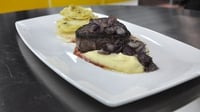 Steak, celeriac mash and red wine onions - From episode three of MasterChef Ireland 2012