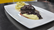 Steak, celeriac mash and red wine onions