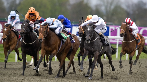Laugh Out Loud (second right), seen winning at Kempton, is being targeted at Saturday's Sun Chariot at Newmarket