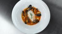 Hake and mussels - Served with tomato, red pepper, fennel sauce, served with cubed potatoes