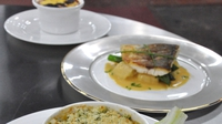 Pan fried seabass with Gnocchi, Asparagus and Shellfish Bisque - Simon Morris serves up seabass on MasterChef Ireland.