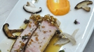 Seared T-bone pork with apple cider sauce - This MasterChef Ireland recipe is served with a pickled mushroom and salted fennel on a toast with sweet potato purée.