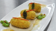 Pig tail croquette with cannellini bean puree