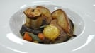 Pork with pear - This MasterChef Ireland dish is served with butternut apple cider gravy, toffee apple, leek and pork pie.