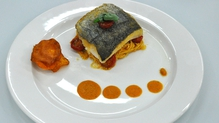 Hake and tomato pasta with sweet potato crisps
