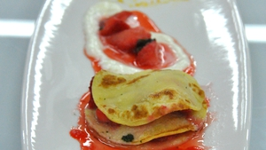 Strawberry pancakes, lemon ice-cream and basil syrup