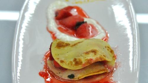 Strawberry pancakes, lemon ice-cream and basil syrup