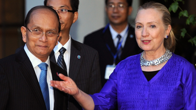 Hilary Clinton pictured with Burma's Thein Sein earlier this year